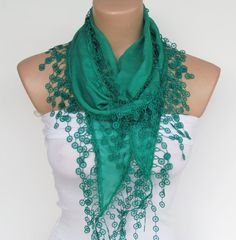 Teal Scarf With FringeNew Season by YADISHACCESSORIES on Etsy, $15.00