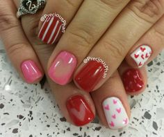 Hearts, valentine day nails