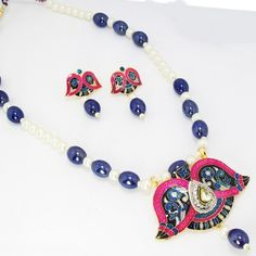 Meenakari Open Flower Pendant Set Pink Violet Black