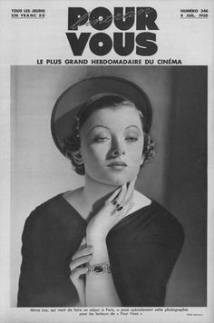 Myrna Loy on the cover of Pour Vous magazine, July 1935, France.