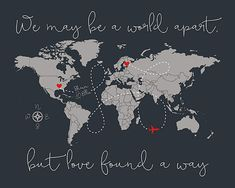 Long Distance Relationship Gift World Map Gift for Boyfriend