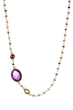 18K Gold Plated Sterling Silver Ornate Amethyst & Mixed Gem Station Necklace by Felix & Lola on @HauteLook