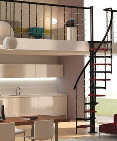 Spiral #staircase / Mini-staircase TRIO 180° by @Rintal Spa   #design Giugiaro Architettura