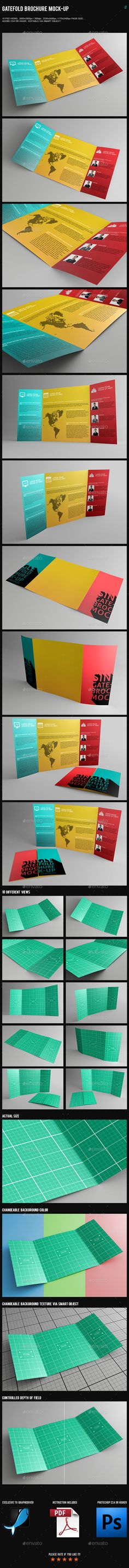Double gate fold vertical brochure mock up isolated on soft gray