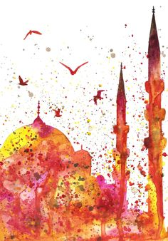 Jasmin Ekström Istanbul skyline watercolor i… Islamic Art Pattern, Pattern Art, Istanbul Skyline, Watercolor Illustration, Watercolor Paintings, Motifs Islamiques, Islamic Paintings, Islamic Wall Art, Turkish Art