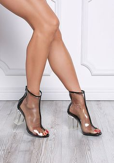 Black Transparent Peep Toe Booties