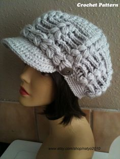 INSTANT DOWNLOAD Alberta Newsboy Chunky Crochet Hat by natyo2010, $5.00
