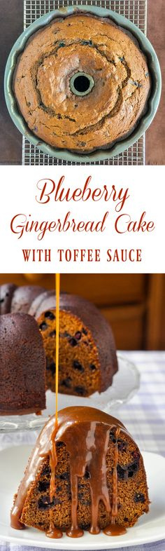 Blueberry Gingerbread Cake with Toffee Sauce - a moist and delicious homemade gingerbread cake bursting with blueberries and served warm with an easy to make toffee sauce.