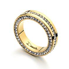 Lüks allencoco marka tam set rhinestone kristal paslanmaz çelik yüzük kadınlar ve erkekler sarı altın alyans