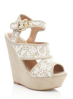Cream Millie Lace Wedding Wedge