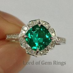 Fine Ring Vintage Floral Design HALO Cushion Cut Emerald Pave Diamonds Ring 14K White Gold Engagement Wedding Bridal