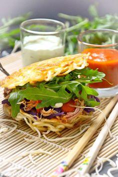 Eurasien Style Burger - Pulled Pork meets Ramen and Kimchi leckerem Chiliketchup und Wasabi Mayo