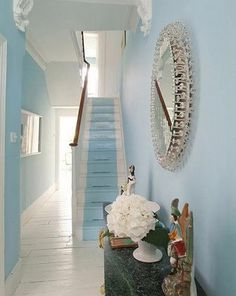Beautiful turquoise blue hallway and stairs found duck egg blue for you Aar Aar Wilson Paint Runner, Hallway Designs, Hallway Ideas, Hallway Inspiration, Staircase Ideas, Staircase Design, Style Inspiration, Entryway Paint, Hallway Colours