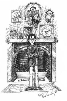 Harry Potter chez les Dursley, dessin de J.K. Rowling