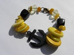 Yellow and black handmade bracelet with vintage anchor charm. www.allsey.etsy.com