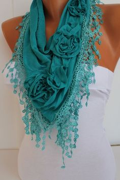 Turquoise cozy Rose Shawl/ Scarf  Headband Cowl with by DIDUCI: