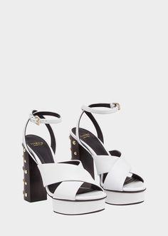 966ba20a2a28 Studded Heel Cross-Strap Sandals - White Sandals Studded Heels