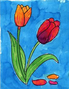 Draw a Tulip   Art Projects for Kids. NEW PDF Tutorial available. #artprojectsforkids #howtodraw #tulips
