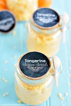 Tangerine Sugar Scrub - coconut oil, sugar, essential oil, and some decorative add-ins. Would be a lovely gift as well!