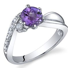 Ethereal Curves 075 carats Amethyst Ring in Sterling Silver Rhodium Nickel Finish Size 6 * You can get more details by clicking on the image.Note:It is affiliate link to Amazon. #sun