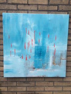 ARTFINDER: Soft Blue  ,  28x28 inches / 70x70cm ... by Mo Tuncay - Worked with soft colors , textured with paletknife , and see power of red on soft Blue