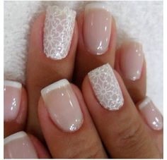 I'm in love with this nail design! It's perfect for a wedding.