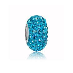 Albastru de cristal șirag de mărgele de Charm 925 Sterling Silver Pandora Compatibil