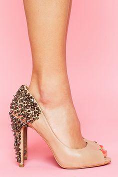 nude studded peep toes