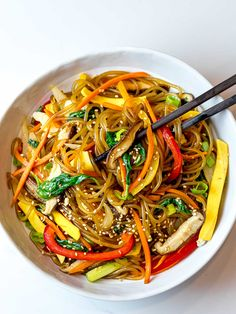 A simple, easy recipe for Japchae, also known as Korean glass noodles with stir fried vegetables. It's made with sweet potato starch noodles, colorful vegetables and tossed in a savory sauce! #japchae #Koreannoodles #glassnoodles #drivemehungry | drivemehungry.com Asian Vegetables, Fried Vegetables, Colorful Vegetables, Easy Asian Recipes, Vegan Recipes Easy, Ethnic Recipes, Korean Recipes, Yummy Pasta Recipes, Rice Recipes