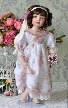 Купить Босиком по росе - фарфоровая кукла, винтажная кукла, большая кукла, кукла, подарок девушке