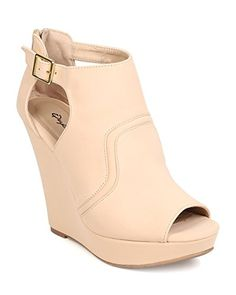 Qupid FC24 Women Nubuck Peep Toe Cut Out Platform Wedge Bootie - Nude (Size: 8.5) >>> More details @