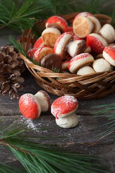 """Looking for Fast & Easy Christmas Recipes, Dessert Recipes! Recipechart has over free recipes for you to browse. Find more recipes like Russian Mushroom Cookies - """"Gribochky"""". Christmas Treats, Christmas Baking, Christmas Cookies, Russian Christmas Food, Italian Christmas, Holiday Treats, Gingerbread Cookies, Cute Food, Yummy Food"""