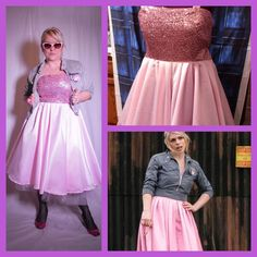 Rose Tyler Idiots Lantern Pink 50s style sequin and satin Cosplay Dress Custom Sized