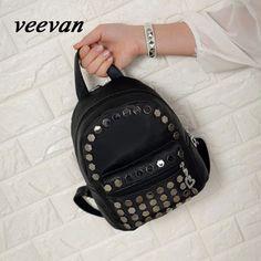 Veevan 2016 New Arrival Fashion Rivet Backpack Leisure Korea Style Student Backpack Small Travel Rucksack