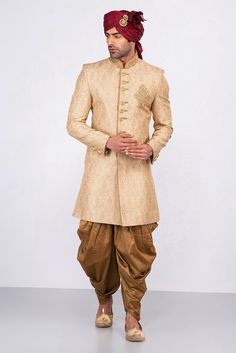 Wedding Dress Indo Western, Rent MFS Light Gold Sherwani With Antique Gold Dhoti at Flyrobe Wedding Outfits For Groom, Groom Wedding Dress, Groom Dress, Wedding Suits, Indian Groom Wear, Indian Wedding Wear, Indian Wear, India Wedding, Sherwani Groom