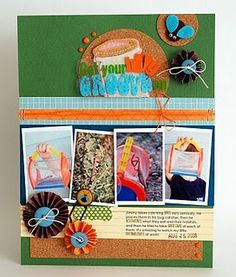 Just a fun summer layout using felt stickers, transparency die cuts, and accordion folded circles.