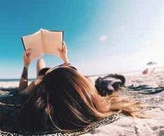 Image de beach, book, and girl