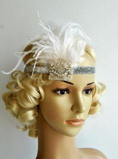 1920s headpiece,rhinestone flapper headband, flapper Headpiece, The Great Gatsby, rhinestones headband, vintage rhinestone feather headpiece