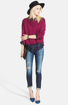 Hinge Pointelle Sweater, BeachLunchLounge Check Shirt & AG Jeans Ankle Jeans  available at #Nordstrom