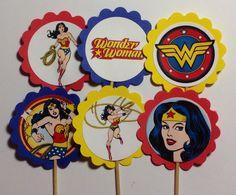 Toppers de Cupcake de mujer maravilla por PartyXtras en Etsy