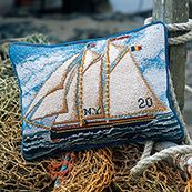 Gaff Rigger, Sail away with this nautical needle point design. For all ship and boat art lovers. Tapestry Online, Tapestry Kits, Tapestry Design, Needlepoint Designs, Needlepoint Pillows, Needlepoint Kits, Cross Stitch Pillow, Cross Stitch Embroidery, Ribbon Work
