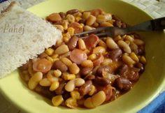 Babos-virslis egytál Black Eyed Peas, Chana Masala, Paella, Beans, Vegetables, Ethnic Recipes, Food, Vegetable Recipes, Eten
