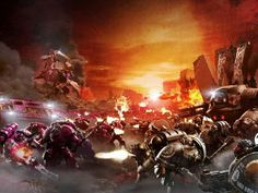 """Warhammer 40k, The Horus Heresy - """"The Iron Hands and the Emperor's Children Legions clash on the surface of Istvaan V."""""""