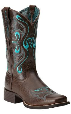 Ariat Women's Whimsy Fiddle Brown with Turquoise Embroidery Square Toe Western Boots