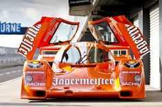 Jägermeister Porsche 962 ( The old orange paint and Jägermeister logo design is one of my favorites, beating out Martini Racing colors and Gulf Racing colors. )