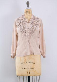 vintage 1950s blouse // Muted Petals Blouse