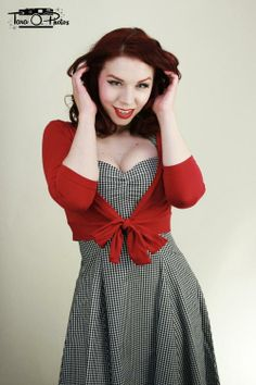Sweet Sweater in Red  Sweetie Dress in Black Gingham By Heart of Haute  Photos by Tara O Photos Modeled by Ludella Hahn