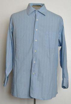 DKNY Shirt XL Mens Blue Striped 100% Cotton Long Sleeve Point (Straight) #DKNY free shipping Buy Now  $14.99