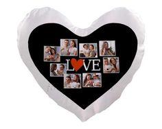 Cuscino cuore con grafica collage nera
