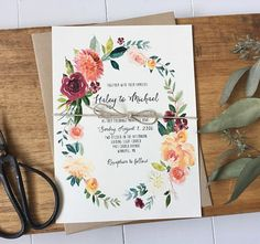 Boho Chic and rustic Wedding Invitation, Floral Wedding Invitation, Modern Wedding Invitation, Wedding Invitation Set. The perfect mix of boho chic, modern and rustic. The wedding invitation is printed on off white card stock paper and wrapped with twine bow. PACKAGES: BASIC: • Main